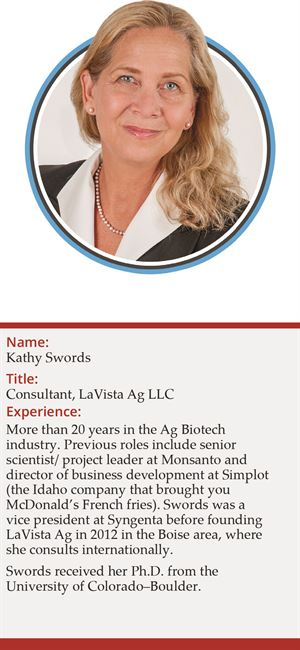 Kathy Swords, consultant at LaVista Ag LLC, more than 20 years in Ag biotech