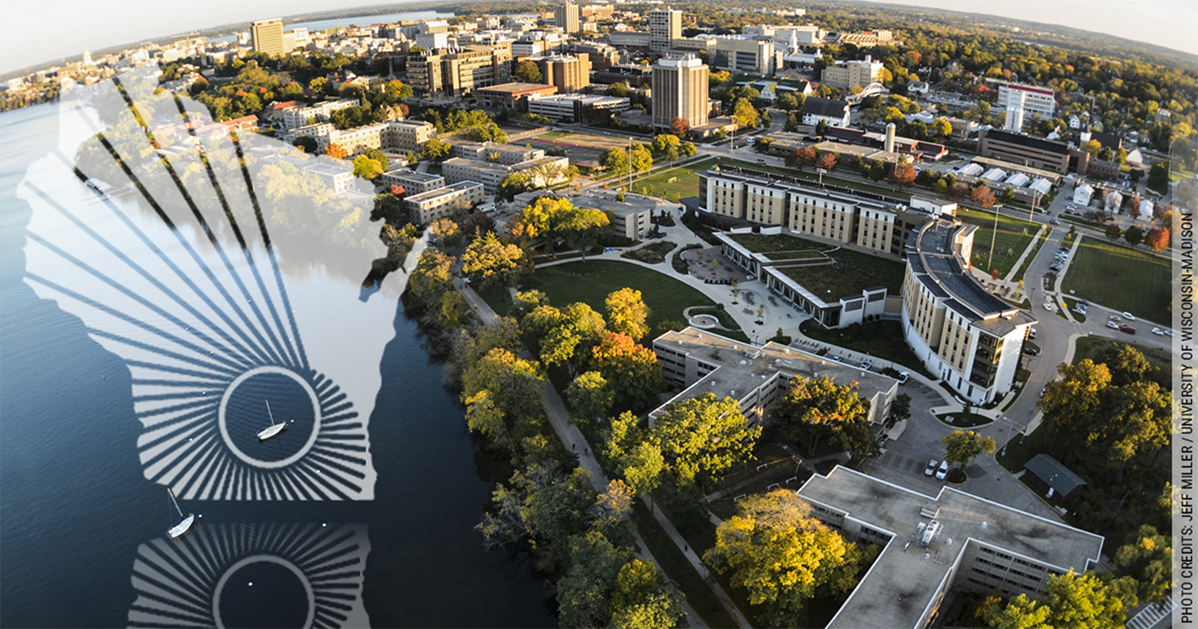 WARF logo over an aerial shot of UW-Madison Campus and Lake Mendota