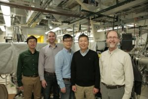 Five people standing in front of a large machine indoors