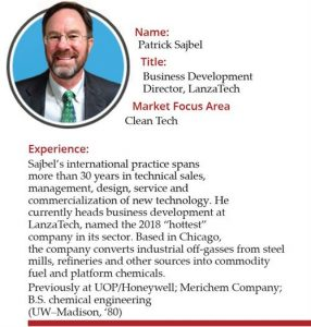 Photo of Patrick Sajbel, business development director at LanzaTech, 30 years of experience in commercialization of new technology