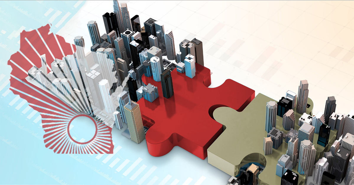 WARF logo over graphic of two jigsaw style puzzles pieces interlocking with 3D cities on top of each