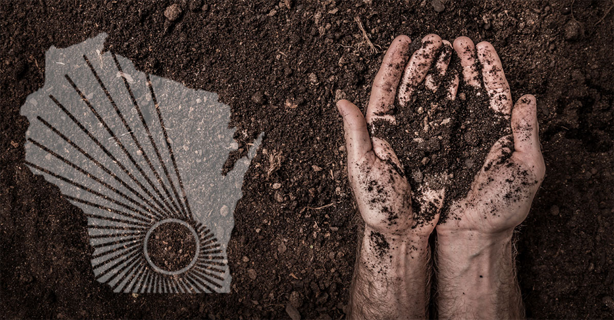WARF logo over image of person's hands holding soil over field of soil