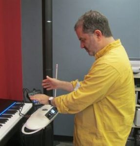 Man playing a theremin