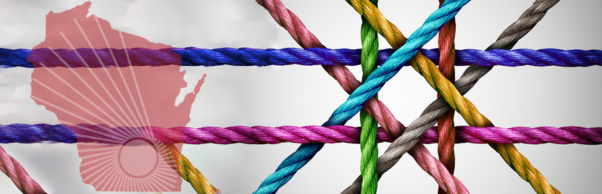 Eight colorful ropes intersecting in a patern