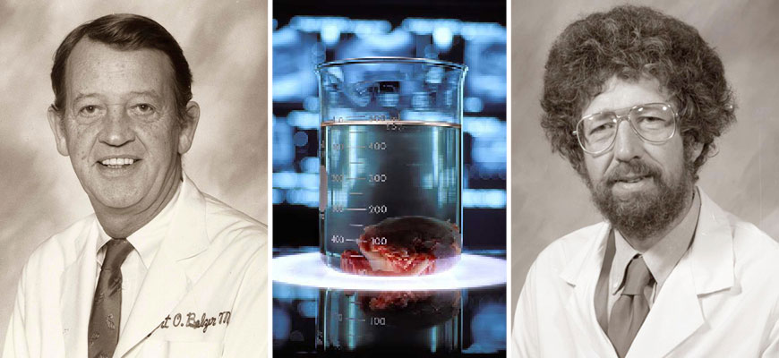 Folkert Belzer and James Southard headshots with a beaker with a preserved organ
