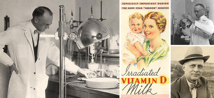 Collage of images of Harry Steenbock and an ad for Irradiated Vitamin D Milk