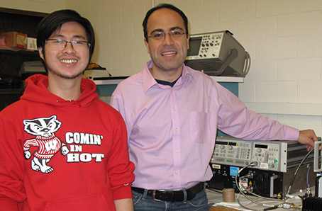 Graduate student Hung Luyen (left) and Professor Nader Behdad (right).