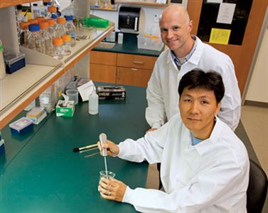 William L. Murphy and Jae-Sung Lee working in a lab
