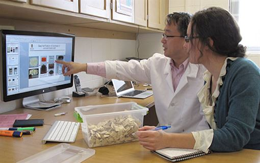 Xuejun Pan and researcher look at data on compter