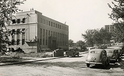 The first WARF building nearing completion in February 1948
