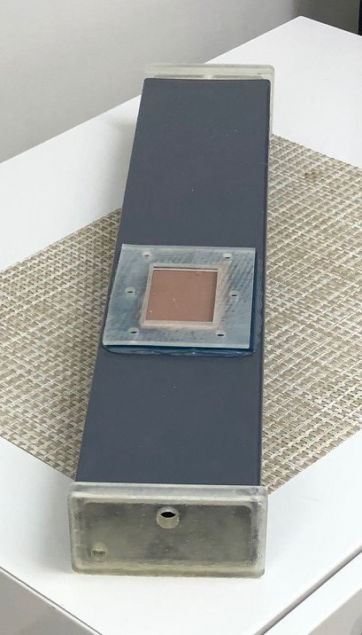 ECMO simulator tank and disposable skin pad insert.